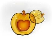 Vingage Glass Apple Bowl Set Chip and Dip Party Dish Amber Orange Glass Apple Chip Dip Set Salad and Dressing Serving Bowls Mid Century