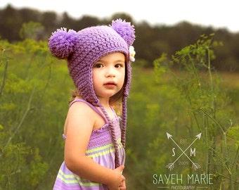 Baby Bear Hat - Double Pom-Pom Beanie with Detachable Daisy Flower