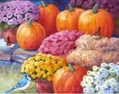 Autumn Painting, Original Watercolor Fall Art, Pumpkins, Birds, Chrysanthemums, 8x10 by Janet Zeh
