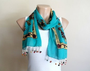 Teal Green Womens Scarf, Cotton Yemeni Scarf