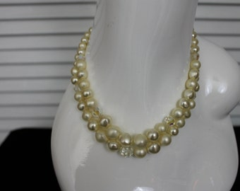 Vintage 1960s White Faux Pearl and Crystal Necklace Double Strand