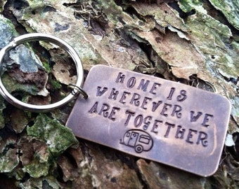 Camper Keychain. Home is wherever i am with you. Happy Camper