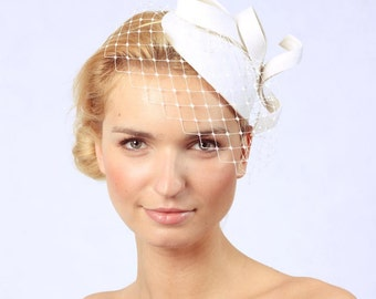 Bridal Hair Accessories,Felt Mini Hat,Fascinator,Ivory