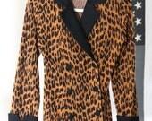 Fuzzy Terrycloth Leopard Print Blazer