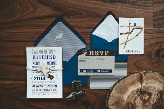 Hitched Wedding Invitations: Rustic Wedding Invitation: We're Getting By WideEyesPaperCo