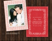 INSTANT DownloadVintage Style PSD 5x7 Christmas / Holiday Card Template - H28