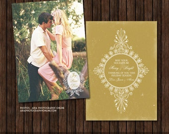 INSTANT DownloadPSD Vintage Style 5x7 Christmas / Holiday Card Template - H27