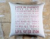 Valentine Pillow, Love is Patient Love is Kind, Subway Art, Valentine Decor, Cottage Decor, Shabby Chic