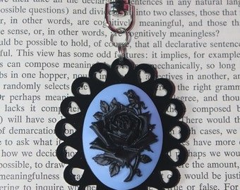 SALE Black On Blue Rose Silhouette Cameo Keychain