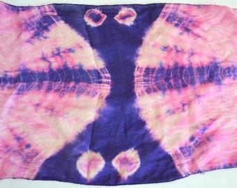 Vintage Silk Scarf.  Long Boho Head Wrap, Neck, Belt, Table Runner, Window Curtain. Batik Tie Dye Women Pink & Purple , Hand Loom India