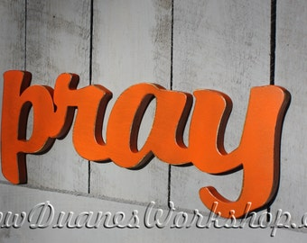 pray sign home decor wooden sign rustic wooden sign white love sign