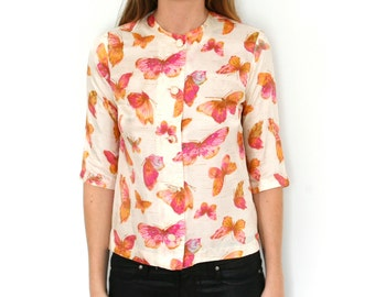 Vintage 60s Blouse Butterfly Print Pink, Gold, Orange, Cream Small - Medium