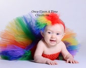 Rainbow Feather Headband - Red Blue Yellow Green Marabou HairBow - Newborn Baby Fascinator - Little Girls Toddler Child Size Clip Hair Bow