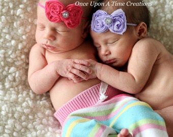 Newborn Black Baby Twins Twin set - hot pink & lavender