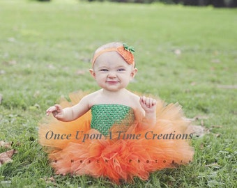 Ready To Ship Little Pumpkin Tutu or Dress - Newborn 3 6 9 12 18 24 Months 3T 4 Birthday Photo Prop Costume - Baby Girl Orange & Green