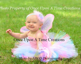 Rainbow Fairy Tutu or Dress -  Newborn 3 6 9 12 18 Months 2T 3T 4T 5 6 ...Birthday, Halloween Costume, Baby Gift - Pretty Pink Butterfly