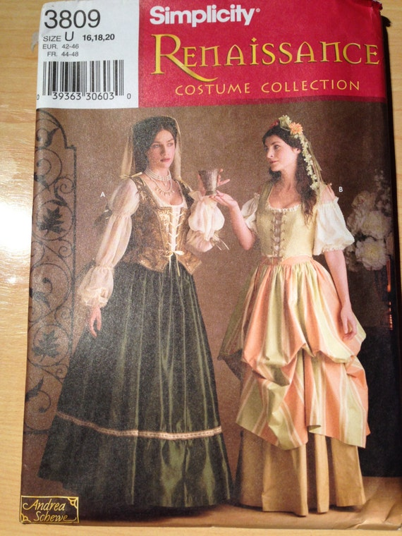Simplicity Sewing Pattern 3809 Uncut Medieval Renaissance Costume Lady in Waiting and Tavern Maid Size 16-20