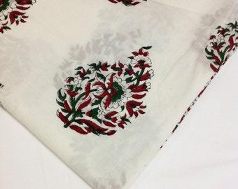 Soft Cotton Fabric - Block Printed Cotton Fabric - Big Paisley Tree Pattern Jaipur Cotton Fabric in White