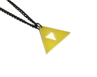 Triforce Necklace, Legend of Zelda, Yellow Laser Cut Gaming