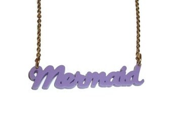 Mermaid Necklace, Pastel Lilac Lavender Laser Cut Pendant, Kawaii Perspex