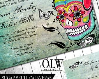 Sugar Skull Day of the Dead Dia De Los Muertos Digital Printable Wedding Invitation & RSVP DIY Templates