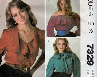 McCall's Sewing Pattern Retro 80s Blouse Off Shoulder Peasant Top Ruffle Neck Long Sleeves Casual Day Shirt Boho Hippie Style Uncut Bust 34