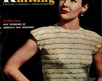 Smart Knitting 1940s Sewing Pattern Magazine Instruction Booklet Crochet Needlework Dress Sweater Blouse Women Men Babies Vintage Fashion