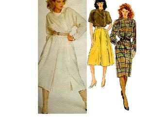 Claude Montana Retro 80s Dress Vogue Designer Sewing Pattern Asymmetrical Button Front Raglan Sleeves Belted Waist A-line Culottes Uncut
