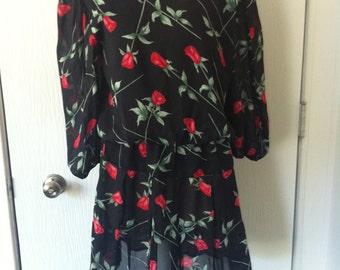 Black Vintage Sheer Dress with Rose Print