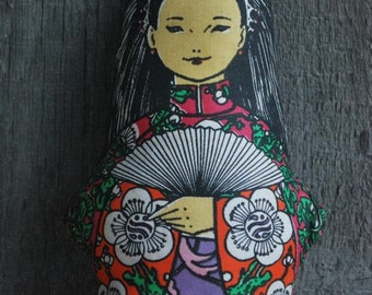 vintage cloth / rag doll - Geisha girl style, 100% cotton