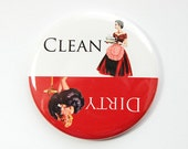 Dishwasher magnet, Clean Dishes, Dirty Dishes, Red, White, Pinup Girl, kitchen magnet, clean dishes magnet, Magnet, stocking stuffer (3558)