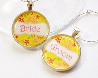 Bride Groom, Wedding Wine Charms, Wine Charms, silver plate, barware, Wedding Shower, wedding reception, table setting, yellow  (2883)