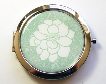 Floral mirror, Pocket mirror, compact mirror, mirror, floral design, Flower Mirror, Green Flower Mirror, Green, Damask (3065)