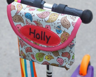 Personalised Child's Bird Print Handlebar Bag by Suzielou textiles, scooter bag, bike bag, bike pouch, kids gift