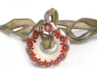 Sage Lampwork Glass Mandala Pendant with Silk Ribbon and Flower Charm