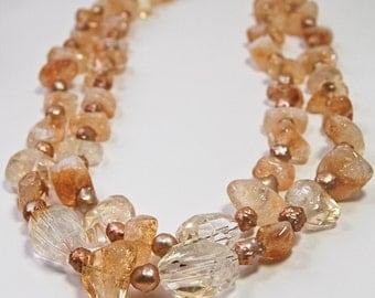 Citrine  Necklace . November Birthstone . Statement Jewelry