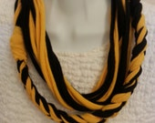 Recycled Braided Looped T Shirt Scarf Gold and Black