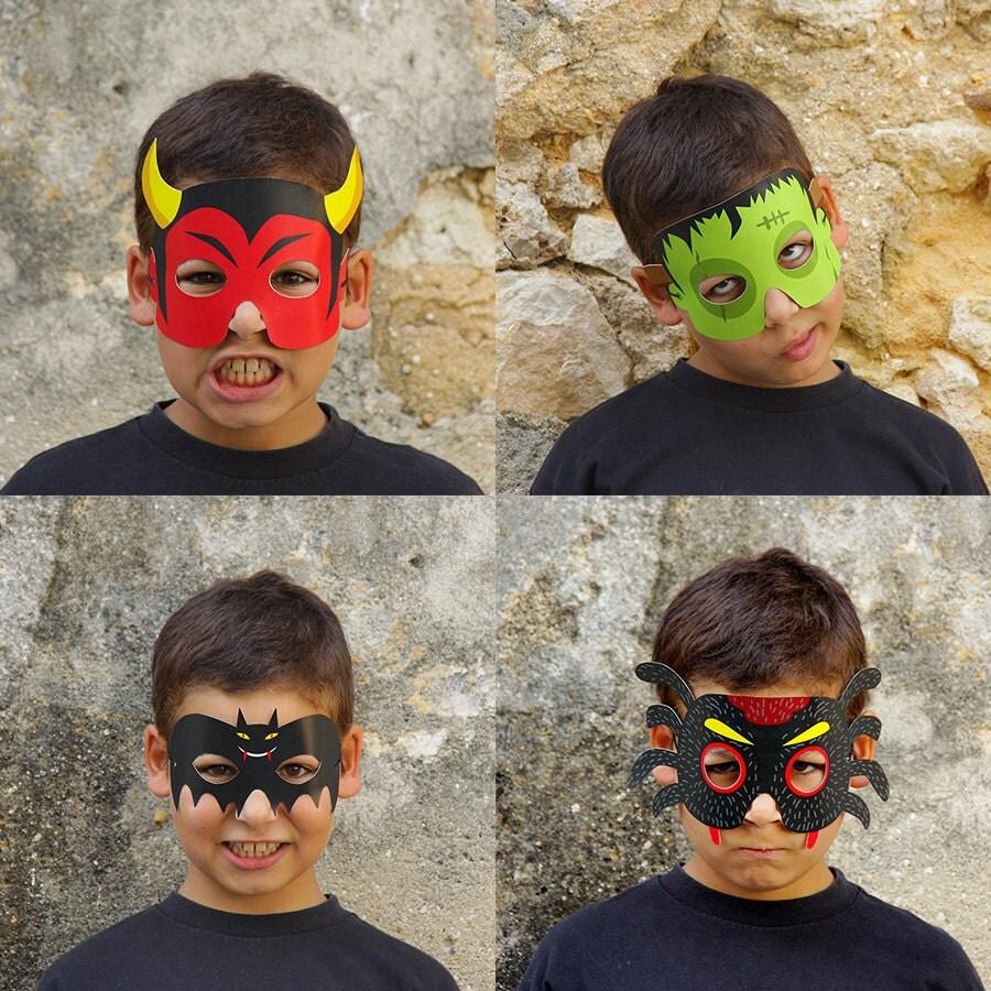 8 Paper Masks Kids Halloween Costume Bat Devil Mummy