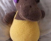 Gloria, the glorious sunbathing hippo - knitted stuffed toy, cuddly hippo in a bathing suit, adorable :)
