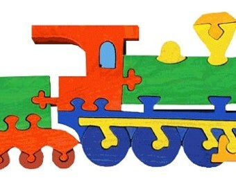 Train -Montessori - Waldorf wooden puzzle, made by hand of maple wood,no harmful colors and no lacquer