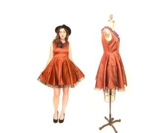 50s Satin Pumpkin Dress