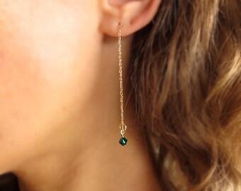 Birthstone Cable Chain Earrings. Gold Dangle Crystal Earrings. Swarovski Charm Earrings. Drop Dangle Earrings. Gold Chain Earrings