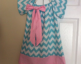 Aqua and White Chevron Peasant Dress with Pink and White Border and Bow, Dress with bow, Summer Dress, Peasant Dress, Pink and Blue Dress