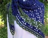 Blue and Green Crochet Shawl Scarf lace wrap handmade shawlette hand crocheted
