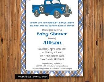 Blue Truck Baby Shower invitation - Little Blue Truck - Baby Boy Baby Shower invitation or birthday invitation - 1st, 2nd, 3rd - Item 0158