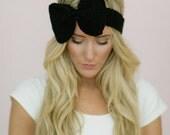 Knitted Bow Headband, Mini Ear Warmer, Women's Fall Headband, Stocking Stuffer, For Her, Mini Knitted Bow Headband in Black (HBK8-3)