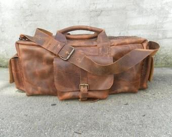 Leather Duffel Mens Bag-Tan Travel Duffel For Men-Large Duffel Bag,Great Gift For Men,Traveller Bag,Weekend Duffel