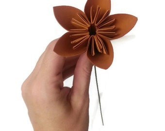 Autumn Brown Color Kusudama Origami Paper Flower with Green Stem