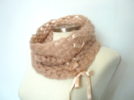 Cowl neckwarmer in pale pink with bow, mohair look