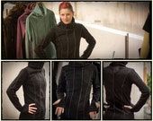 Fleece Sweater , Cowl Neck Sweater, Asymmetric Winter Top